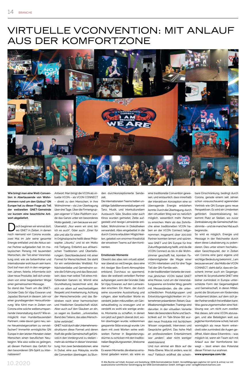 QN Europe Presseberichte Network Karriere 11.2020